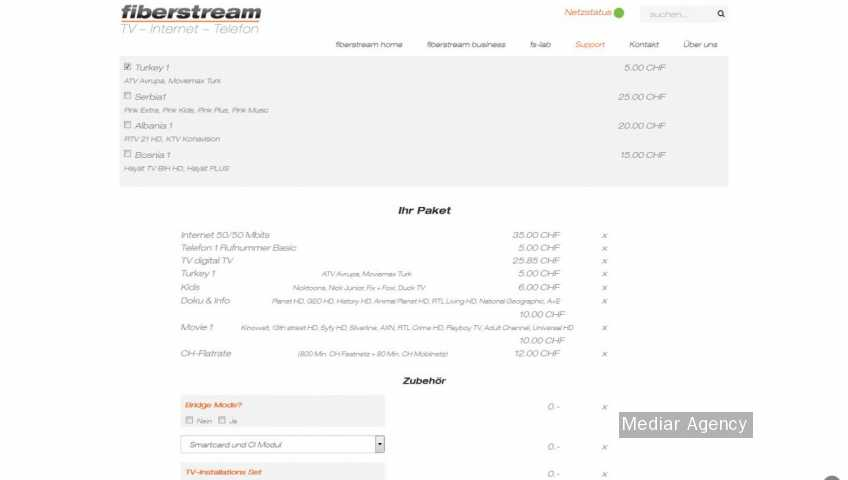 Configurator extension for telecom services (Mediar Agency)