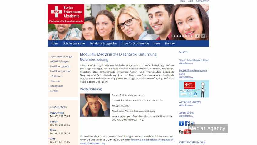 Development for swiss akademie for health professionals (Mediar Agency)